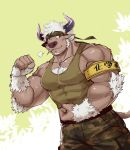 1boy animal_ears bara chest chest_hair cow_boy cow_ears cow_horns facial_hair flexing furry horns luwei male_focus manly muscle pectorals pose purple_horns shennong_(tokyo_afterschool_summoners) simple_background solo tokyo_houkago_summoners upper_body violet_eyes white_hair