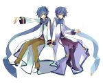 2boys belt blue_eyes blue_hair blue_nails blue_shirt boots brown_pants coat dual_persona grin hand_on_hand headset invisible_chair kaito kaito_(vocaloid3) knee_boots looking_at_viewer male_focus multiple_boys nail_polish one_eye_closed outstretched_arm pants purple_pants shirt sitting smile vocaloid waving white_background white_coat yoshiki zipper