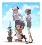 4girls animal_ears arknights bangs blue_sky brown_hair clouds cloudy_sky day eyebrows_visible_through_hair flower glasses hair_between_eyes highres horns ifrit_(arknights) long_hair long_sleeves miyachi_(tanya_visha) multiple_girls owl_ears plant potted_plant saria_(arknights) shirt short_hair silence_(arknights) silver_hair skirt sky slippers tail watering_can