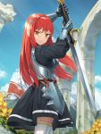 1girl absurdres armor armored_dress boobplate breastplate commentary_request cowboy_shot day gauntlets goback highres holding holding_sword holding_weapon long_hair looking_at_viewer original outdoors redhead sky smile solo standing sword thigh-highs weapon yellow_eyes zettai_ryouiki