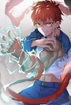 1boy bandaged_arm bandages bangs blood blood_on_face blue_pants blue_sleeves brown_hair commentary_request denim emiya_shirou energy fate/stay_night fate_(series) highres jeans long_sleeves looking_at_viewer male_focus muscle navel pants raglan_sleeves redhead serious shirt short_hair smoke solo tapioka_(oekakitapioka) teeth torn_clothes v-shaped_eyebrows white_shirt