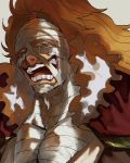1boy bandage_on_face bandaged_head bandaged_neck bandages big_hair blonde_hair blue_hair chest crying crying_with_eyes_open dripping fur_collar half-closed_eyes highres killer_(one_piece) lipstick long_hair looking_at_viewer makeup male_focus nostrils one_piece open_mouth slllle1 smile solo streaming_tears tears teeth upper_body