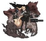 1girl absurdres amd animal_ears arknights black_gloves black_legwear black_neckwear black_skirt blonde_hair chinese_robot_kid eyebrows_visible_through_hair fox_ears fox_tail gloves gun hair_between_eyes hand_on_weapon highres holding holding_weapon long_hair looking_at_viewer necktie pantyhose ponytail rifle shirt shoes skirt smoke_grenade sneakers solo tail weapon white_shirt yellow_eyes