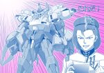 1boy absurdres clenched_hand emphasis_lines gattai gundam gundam_build_divers gundam_build_divers_re:rise highres kaneko_naoya looking_down mecha mecha_request monochrome one-eyed open_mouth paptimus_scirocco parody re:rising_gundam spot_color the_o zeon zeta_gundam