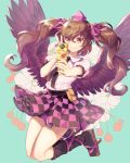 1girl black_wings brown_hair cellphone checkered checkered_skirt geta hat highres himekaidou_hatate looking_at_viewer phone simple_background skirt smile solo tengu-geta tokin_hat tomobe_kinuko touhou twintails v wings