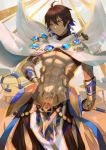 1boy abs ahoge balusah black_gloves brown_hair cape dark_skin dark_skinned_male egyptian egyptian_clothes fate/grand_order fate/prototype fate/prototype:_fragments_of_blue_and_silver fate_(series) gauntlets gloves hair_between_eyes holding holding_staff jewelry light_smile looking_down male_focus muscle necklace ozymandias_(fate) shirtless shrug_(clothing) smile solo staff standing white_cape yellow_eyes