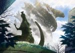 bare_tree bird blue_eyes blue_sky building claws clouds cloudy_sky flock flower flying fog from_below giant_monster godzilla godzilla_(series) highres kaijuu leaf light_rays looking_away monster overgrown scales sky spines standing statue suttoko teeth tree