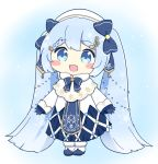 1girl :d bass_clef beret blue_bow blue_dress blue_gloves blue_neckwear blush_stickers boots bow bowtie capelet chibi commentary dress full_body fur-trimmed_boots fur-trimmed_capelet fur_trim gloves gold_trim hair_bow hat hatsune_miku light_blue_eyes light_blue_hair long_hair nukotun open_mouth smile snowflake_print solo string_of_light_bulbs treble_clef twintails very_long_hair vocaloid white_capelet white_dress white_footwear white_headwear yuki_miku yuki_miku_(2021)