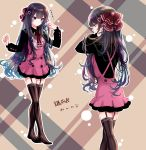 akihorisu alternate_costume black_legwear blue_eyes blue_hair bow dress garter_straps hair_ornament highres hikari_(pokemon) long_hair long_sleeves pink_dress pokemon thigh-highs zettai_ryouiki