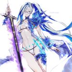 1girl bangs bikini blue_flower blue_rose breasts brynhildr_(fate) brynhildr_(swimsuit_berserker)_(fate) closed_mouth commentary_request eyebrows_visible_through_hair eyelashes fate/grand_order fate_(series) flower glasses green_hair hair_over_one_eye highres holding holding_sword holding_weapon koshika_rina long_hair looking_at_viewer purple_scrunchie rose scrunchie side_ponytail smile solo swimsuit sword very_long_hair watermark weapon white_bikini
