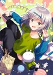 1girl animal_ears bag black_pants blue_footwear blue_jacket blush clothes_writing collarbone commentary_request drawing_tablet drawstring fence food from_above green_shirt grey_eyes grey_hair hair_ornament hairclip hand_up highres holding holding_stylus ichiren_namiro jacket long_sleeves looking_at_viewer looking_back looking_up open_clothes open_jacket open_mouth original pants shirt short_sleeves sleeves_past_wrists slippers solo star_(symbol) stylus