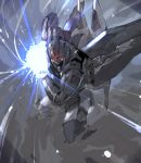 agovitch check_copyright copyright_request dust dust_cloud emphasis_lines energy energy_ball glowing glowing_eyes highres lens_flare lens_flare_abuse mecha no_humans smoke stance xenogears