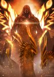 building burning claws confrontation dragon dragon_horns embers giant_monster glowing godzilla godzilla:_king_of_the_monsters godzilla_(series) highres horns kaijuu king_ghidorah king_ghidorah_(godzilla:_king_of_the_monsters) looking_at_another monster moth_wings multiple_heads no_humans orange_theme scales sharp_teeth smoke spread_wings standing suttoko teeth twitter_username wings