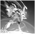 1boy belt belt_buckle buckle dust dust_cloud energy_ball energy_sword galaxy glint greyscale hat highres hook_hand male_focus monochrome original pirate pirate_hat richard_carey shooting_star solo space standing star_(sky) star_(symbol) sword torn_clothes torn_legwear weapon
