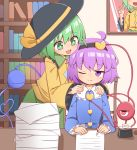 2girls ahoge black_hairband black_headwear blue_shirt bookshelf bright_pupils chair commentary_request frilled_sleeves frills green_eyes green_hair green_skirt hairband hands_on_another's_shoulders hat heart heart_of_string highres holding holding_pen indoors inkwell komeiji_koishi komeiji_satori long_sleeves looking_at_viewer multiple_girls nib_pen_(object) nihohohi one_eye_closed open_mouth paper paper_stack pen portrait_(object) purple_hair shirt short_hair siblings sisters sitting skirt smile third_eye touhou violet_eyes white_pupils yellow_shirt