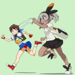 2girls backpack bag bangs black_hairband blue_eyes blue_skirt blush bread_slice brown_eyes brown_hair clenched_hand commentary_request crossover dark_skin eye_contact eyelashes food food_in_mouth green_background grey_hair hairband hand_up headband highres kasugano_sakura knees looking_at_another mouth_hold multiple_girls pokemon pokemon_(game) pokemon_swsh running saitou_(pokemon) shiny shiny_skin shirt shoes short_sleeves skirt sneakers street_fighter tsuichi white_shirt