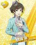 akizuki_ryou brown_eyes brown_hair character_name groom idolmaster idolmaster_side-m jacket short_hair smile