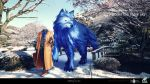 1boy animal claws fate/grand_order fate_(series) gloves hat hat_removed headless headwear_removed highres jacket lobo_(fate/grand_order) oversized_animal photo_background scarf snow suitcase tree tsuk8454 under_the_same_sky walking wolf yellow_eyes