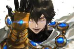 1boy ahoge black_gloves brown_hair cape dark_skin dark_skinned_male egyptian egyptian_clothes fate/grand_order fate/prototype fate/prototype:_fragments_of_blue_and_silver fate_(series) gauntlets gloves hair_between_eyes jewelry kdm_(ke_dama) looking_at_viewer male_focus necklace open_mouth ozymandias_(fate) simple_background solo upper_body white_background white_cape yellow_eyes