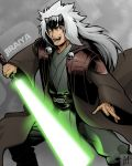 1boy character_name commentary energy_sword english_commentary forehead_protector grey_background highres holding holding_sword holding_weapon jiraiya lightsaber long_hair long_sleeves looking_at_viewer matoshi naruto naruto_(series) open_mouth simple_background solo standing star_wars sword teeth tongue weapon white_hair