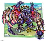 1girl bahamut_(final_fantasy) blue_eyes brown_hair chibi final_fantasy final_fantasy_x green_eyes heterochromia highres holding holding_staff monster oomasa_teikoku open_hands short_hair staff standing wings yuna_(ff10)