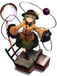 absurdres arms_at_sides bangs black_headwear blush boots bow brown_footwear buttons collared_shirt commentary eyeball eyebrows_visible_through_hair frilled_sleeves frills full_body green_eyes green_hair green_skirt hair_between_eyes hands_up hat hat_bow heart heart_in_eye highres komeiji_koishi kurowa_(curowa) long_sleeves looking_up mosaic_background outstretched_arms pavement railing road_sign sett shirt short_hair sign simple_background skirt smile spread_arms string symbol_in_eye third_eye touhou walking wavy_hair white_background wide_sleeves yellow_bow yellow_shirt