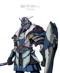 1boy absurdres armor char's_counterattack char's_counterattack_-_beltorchika's_children character_name clenched_hands english_commentary gundam helmet hi-nu_gundam highres holding holding_shield holding_spear holding_weapon personification polearm shield solo spear thai_trieu v-fin viking warrior weapon