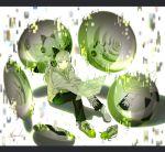 1girl bangs black_pants blunt_bangs green_eyes headphones highres hood hood_down hooded_jacket inika jacket long_hair original pants shoe_removed shoes silver_hair single_shoe socks solo translation_request two-tone_footwear white_hoodie white_legwear