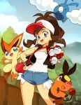 1girl 3others bag baseball_cap blue_eyes blush_stickers breasts brown_hair character_request commentary day denim denim_shorts english_commentary exposed_pocket gen_5_pokemon hand_on_hip handbag hat holding holding_poke_ball multiple_others optionaltypo poke_ball poke_ball_(basic) pokemon pokemon_(creature) pokemon_(game) pokemon_bw red_bag shorts small_breasts starter_pokemon tank_top tepig touko_(pokemon) vest wristband