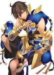 1boy abs absurdres ahoge animal animal_ears brown_hair cat cat_ears dark_skin dark_skinned_male egyptian egyptian_clothes fate/grand_order fate/prototype fate/prototype:_fragments_of_blue_and_silver fate_(series) gauntlets hair_between_eyes highres holding holding_animal holding_cat hoshi_rasuku jewelry looking_to_the_side male_focus muscle necklace ozymandias_(fate) simple_background sitting solo tail white_background wings yellow_eyes
