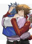 2boys bishounen blue_hair brown_hair closed_eyes crystal_beast_ruby_carbuncle duel_academy_uniform_(yuu-gi-ou_gx) hand_in_another's_hair highres hug jacket johan_andersen long_hair multicolored_hair multiple_boys red_jacket shirt simple_background soo_joop standing two-tone_hair white_background white_shirt winged_kuriboh yaoi yuu-gi-ou yuu-gi-ou_gx yuuki_juudai