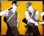 2boys ^_^ ajin_(sakurai_gamon) ar-15 bangs black_border blood border bulletproof_vest closed_eyes closed_mouth collared_shirt cowboy_shot cutting dart dismemberment flat_cap greyscale gun gun_to_head hair_between_eyes hand_up hat highres holding holding_gun holding_weapon leeis_cool machete male_focus missing_limb mob_psycho_100 monochrome multiple_boys pants rifle satou_(ajin) severed_arm severed_limb shimazaki_ryo shirt short_hair sleeves_rolled_up sling smile spot_color standing twitter_username weapon yellow_background