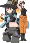 1girl arm_up baggy_pants bangs bare_shoulders black_footwear black_gloves black_hair black_jacket black_tank_top blush boots breasts closed_mouth clothes_around_waist collarbone commentary_request crossed_arms en'en_no_shouboutai fire full_body gloves hands_up hat jacket long_hair looking_at_viewer maki_oze midriff multicolored multicolored_clothes multicolored_jacket multiple_views muscle muscular_female navel orange_pants pants ponytail salute shiseki_hirame sidelocks simple_background sleeveless smile standing suspenders_hanging tank_top violet_eyes white_background yellow_eyes