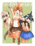 3girls :d absurdres animal_ear_fluff animal_ears anniversary bare_shoulders black_gloves black_hair blonde_hair blowhole blue_dress blue_eyes blue_hair bow bowtie brown_skirt commentary_request common_dolphin_(kemono_friends) dhole_(kemono_friends) dog_ears dog_girl dog_tail dolphin_tail dorsal_fin dress extra_ears eyebrows_visible_through_hair fangs finger_to_mouth frilled_dress frills glasses gloves green_background highres kemono_friends kemono_friends_3 light_brown_hair long_sleeves looking_at_viewer meerkat_(kemono_friends) meerkat_ears meerkat_tail multicolored_hair multiple_girls open_mouth orange_eyes pleated_dress pleated_skirt sailor_dress short_hair simple_background skirt sleeveless sleeveless_dress smile sweater tail thigh-highs thin_(suzuneya) white_gloves white_hair white_neckwear yellow_eyes zettai_ryouiki
