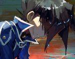 1boy aoki_(fumomo) bangs black_hair blue_jacket closed_mouth duel_academy_uniform_(yuu-gi-ou_gx) hair_between_eyes jacket long_hair male_focus manjoume_jun red_eyes shiny shiny_hair solo spiky_hair sweat wet wet_hair yuu-gi-ou yuu-gi-ou_gx