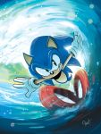 1boy archie_comics artist_name cover cover_page english_commentary furry gloves green_eyes looking_at_viewer male_focus official_art running signature solo sonic sonic_the_hedgehog teeth tyson_hesse water waving white_gloves