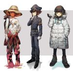 1boy aoki_(fumomo) black_gloves boots brown_eyes brown_footwear brown_hair brown_pants character_name closed_eyes clothes_around_waist coat full_body gloves grey_background hand_in_pocket hand_on_hip hat hat_ribbon helmet hooded_coat male_focus necktie paint_on_clothes pants police police_uniform print_shirt red_ribbon ribbon shirt solo straw_hat sweater sweater_around_waist two-tone_background uniform variations white_background white_coat white_shirt yellow_headwear yuu-gi-ou yuu-gi-ou_gx yuuki_juudai