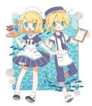 1boy 1girl :o :p anchor_print aqua_eyes bangs blonde_hair blue_collar blue_dress blue_headwear chibi clam_shell clipboard collar commentary dress fang fish flower full_body hair_ornament hairclip hat highres holding holding_pen holding_tray innertube kagamine_len kagamine_rin looking_at_viewer najo necktie ocean open_mouth pen sailor_collar sailor_dress sailor_hat seashell shell shirt short_hair short_ponytail short_sleeves sparkle starfish swept_bangs tongue tongue_out tray tropical_drink vocaloid waiter waitress white_collar white_headwear white_shirt
