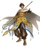1boy abs absurdres ahoge black_gloves brown_hair cape dark_skin dark_skinned_male egyptian egyptian_clothes fate/grand_order fate/prototype fate/prototype:_fragments_of_blue_and_silver fate_(series) full_body gauntlets gloves hair_between_eyes highres holding holding_staff jewelry looking_at_viewer male_focus muscle necklace open_mouth ozymandias_(fate) saku_(sakudeji) shirtless shrug_(clothing) simple_background solo staff white_background white_cape yellow_eyes