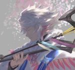 1boy ahoge bangs bishounen center_frills closed_eyes fate/grand_order fate_(series) flower flower_knot hair_between_eyes hair_ornament holding holding_staff holding_weapon hood hood_down hooded_robe long_hair looking_to_the_side male_focus merlin_(fate) multicolored_hair parted_lips petals pink_ribbon ribbon robe solo staff tassel turtleneck two-tone_hair very_long_hair violet_eyes weapon white_hair white_robe yooget