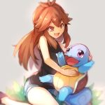 1girl bangs bare_arms black_tank_top blue_(pokemon) blue_shorts brown_eyes brown_hair commentary_request eyebrows_visible_through_hair eyelashes gen_1_pokemon grass highres kurou_sagi long_hair looking_down open_mouth pokemon pokemon_(creature) pokemon_(game) pokemon_lgpe shiny shiny_hair short_shorts shorts sidelocks squirtle tank_top tongue