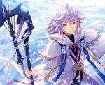 1boy ahoge bangs bishounen center_frills fate/grand_order fate_(series) flower flower_knot hair_between_eyes hair_ornament holding holding_staff holding_weapon hood hood_down hooded_robe long_hair long_sleeves looking_at_viewer male_focus merlin_(fate) multicolored_hair petals pink_ribbon ribbon robe smile solo staff tassel turtleneck two-tone_hair very_long_hair violet_eyes water weapon white_hair white_robe yamyom
