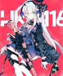 1girl assault_rifle black_hairband black_jacket blue_dress character_name commentary_request dress explosive feet_out_of_frame girls_frontline gloves green_eyes grenade gun h&k_hk416 hair_ornament hairband hat highres hk416_(girls_frontline) jacket long_hair looking_at_viewer meto_(metrin) mini_hat name_tag red_background rifle solo thigh_pouch weapon white_gloves white_hair