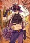 1boy abs adapted_costume arm_up battle_tendency belt belt_buckle blue_eyes brown_hair brown_headwear brown_theme buckle cactus clenched_hand commentary cowboy cowboy_hat cowboy_shot crop_top english_text fingerless_gloves gloves gun hair_between_eyes handgun hat highres holding holding_gun holding_weapon index_finger_raised jacket jojo_no_kimyou_na_bouken joseph_joestar_(young) male_focus midriff navel open_clothes open_jacket open_mouth pants pectorals revolver short_hair sky_kiki sleeves_rolled_up smile solo standing symbol_commentary tumbleweed weapon western