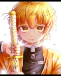 1boy agatsuma_zenitsu bangs black_jacket blonde_hair brown_eyes commentary_request eyebrows_visible_through_hair hair_between_eyes holding holding_sword holding_weapon jacket katana kimetsu_no_yaiba letterboxed long_sleeves looking_at_viewer male_focus open_clothes sheath simple_background solo sword thick_eyebrows unsheathing v-shaped_eyebrows weapon white_background yomogi_(becr)