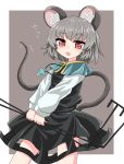 1girl animal_ears bangs black_dress blue_capelet bright_pupils capelet chups dowsing_rod dress eyebrows_visible_through_hair grey_background grey_hair highres jewelry long_sleeves looking_at_viewer mouse mouse_ears mouse_tail nazrin open_mouth pendant red_eyes shirt short_hair simple_background solo tail teeth touhou white_shirt white_sleeves