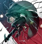 1boy aura border cape collared_shirt edmond_dantes_(fate/grand_order) electricity fate/grand_order fate_(series) formal full_body gloves green_cape green_headwear green_jacket green_pants hat jacket kaworu_(kaw_lov) long_sleeves male_focus open_mouth pants shirt shirt_tucked_in signature silver_hair solo suit white_gloves white_shirt wing_collar yellow_eyes