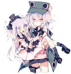 2girls black_footwear black_shorts carrying cropped_legs dress flying_sweatdrops g11_(girls_frontline) girls_frontline hair_between_eyes hair_ornament hat hk416_(girls_frontline) jacket long_hair meto_(metrin) mini_hat multicolored multicolored_eyes multiple_girls no_mouth off-shoulder_jacket open_clothes open_jacket open_mouth pink_eyes pouch princess_carry shoes shorts simple_background socks sparkle spiral_eyes tearing_up white_background white_dress white_hair
