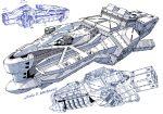 concept_art dated gundam highres lineart measurements monochrome multiple_views no_humans original sketch space_craft white_background yonemura_kouichirou
