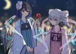 2girls absurdres bangs black_hair blue_butterfly blue_eyes blue_hair blurry blurry_background bronya_zaychik chinese_clothes commentary crescent_moon crossed_bangs depth_of_field drill_hair eye_contact fireworks flower grass grey_eyes grey_hair hair_flower hair_ornament hair_ribbon hanfu highres holding holding_hands honkai_(series) honkai_impact_3rd kuo_(kuo114514) long_hair looking_at_another moon multicolored_hair multiple_girls night night_sky open_mouth outdoors ribbon seele_vollerei short_hair sky smile tanabata twin_drills two-tone_hair white_flower